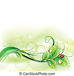 Blur green background with ladybirth. Vector - Blur abstract...