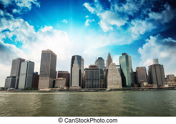 Buildings of Lower Manhattan as seen from East River - New...