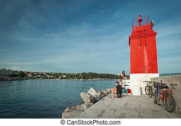 fishing in Krk - KRK, CROATIA - MAY 4, 2013: Fishermen in...