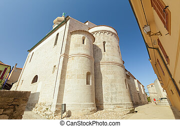 Krk old town - Fortress architecture of the old town of Krk,...