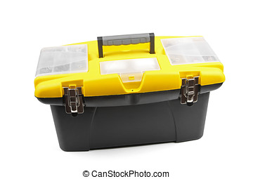 yellow plastic toolbox isolated on white background