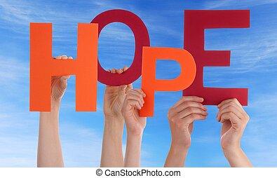 mãos, segurando, esperança, frente, céu
