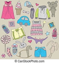 Children clothes and toys set - Children clothes and toys...