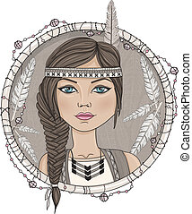 Cute native american girl and feathers frame