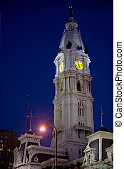 Philadelphia City Hall illuminated at night
