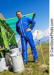 agriculteur et son équipement de travail - Herdsman standing...