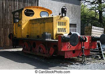 pequeño, guardagujas, tren
