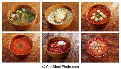 alimento, vegetal, diferente, jogo, sopas
