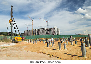 Pile at construction site