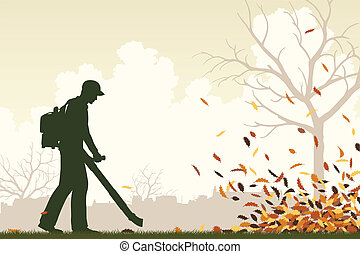 Leaf blower - Editable vector illustration of a man using a...