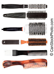 set of combs - different combs on the white background