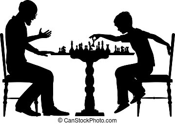 Chess prodigy - Editable vector silhouette of a young boy...