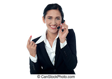 Lady customer support executive on call - Customer support...