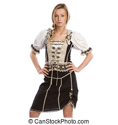 woman in tiroler outfit - very beautiful caucasian white...