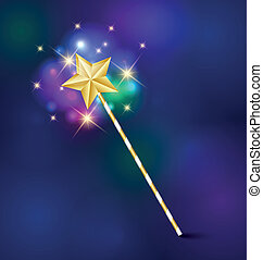 Magic wand - Golden fairy tale magic wand with glittering...