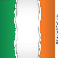 Irish flag background made of torn papers