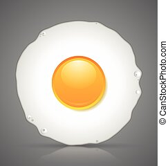 Fried egg icon - Sunny side up fried egg icon isolated on...