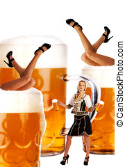 crazy oktoberfest creation with very sexy legs and beer
