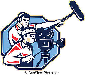 Cameraman Vintage Camera Soundman Boom Retro - Illustration...
