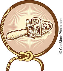 Chainsaw Lasso Rope Retro - Illustration of chainsaw chain...