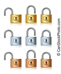 Padlock icons - Three stages of golden, silver and bronze...