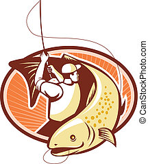 Fly Fisherman Reeling Trout Fish Retro - Illustration of a...