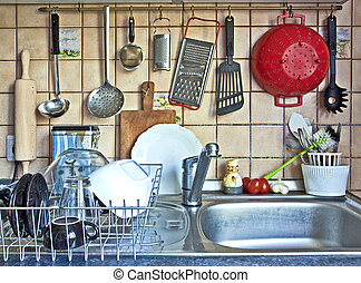 kitchen tools hanging on the sink - parade of useful kitchen...