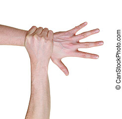 hand caught and grabbed over wrist isolated on white...