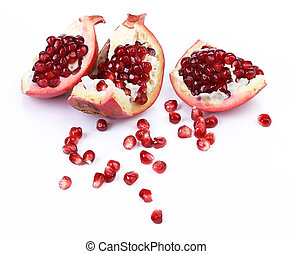 Broken pomegranate segment isolated on white background