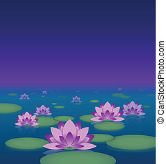 Lotus pond at night - Idyllic lotus pond at night with copy...