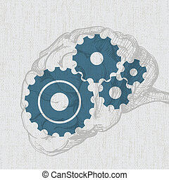 human brain with cogs