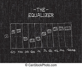 Equalizer - Hand drawn equalizer by chalk on black board -...