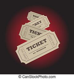 Tickets - Set of tickets on dark red background -...