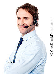 How can I help you today - Male help desk executive...