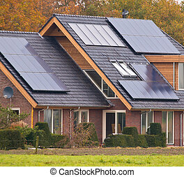 Solar panels on house - Photovoltaic Solar Panels on Newly...