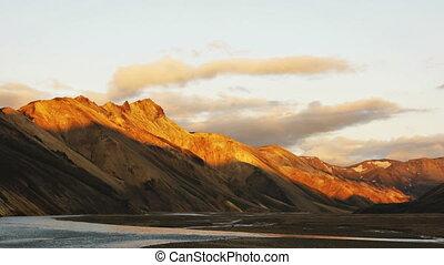 landmannalaugar volcanic area mediu - view of...
