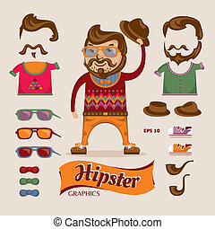 Hipster handsome man with hipster accessories, eps10 vector...
