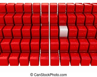 One individuality white cube among the red cubes isolated on...