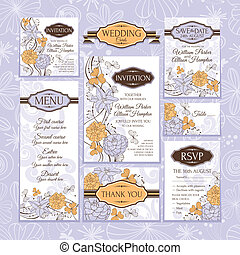 Set of wedding cards. Wedding invitations. Thank you card....