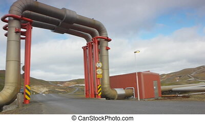 Geothermal power & energy plant - view of geothermal plant...