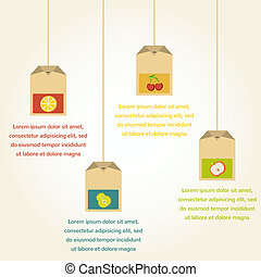 tea bags with fruit flavor , vector infographics