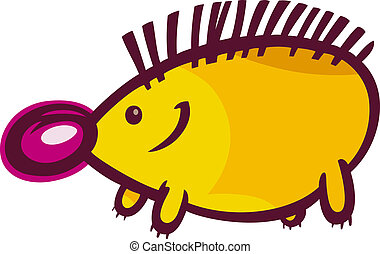 funny hedgehog cartoon illustration