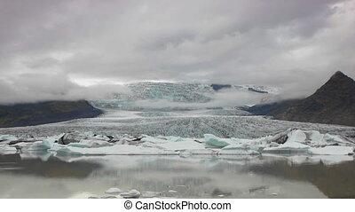 glacier front into lagoon