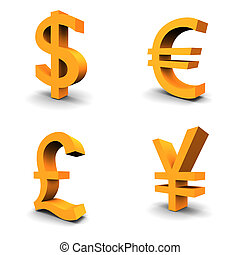Dollar, Euro, Pound, Yen. Set of 4 currency 3d symbols.