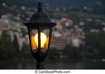 A Lamppost in Montreux, Switzerland - A Lamppost by Lake...