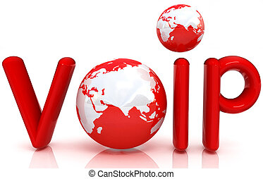 Word VoIP with 3D globeon a white background