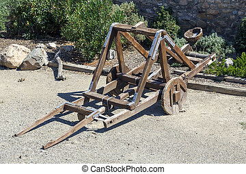 Catapult in the medieval town of Montblanc, Tarragona Spain
