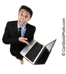 Persuasive businessman pointing to his computer - Persuasive...