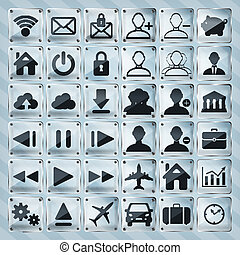 set of glass web, multimedia icons