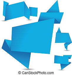 set of blue origami banners